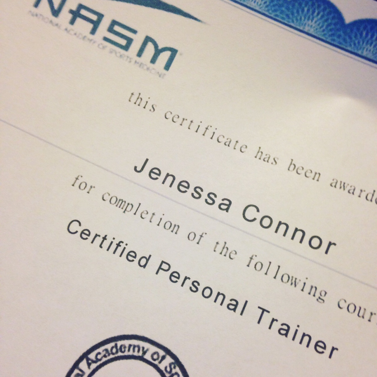 On passing the nasm personal trainer certification test jenessa on passing the nasm personal trainer certification test jenessa connor 1betcityfo Choice Image